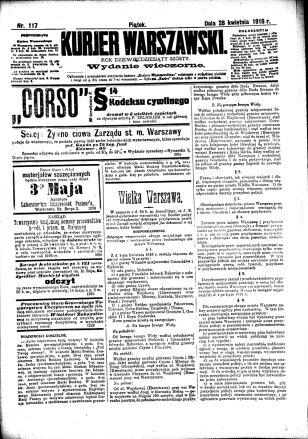 Okładka Kurjera Warszwskiego z 28 kwietnia 1916 ze szczegółami zmian granic miasta