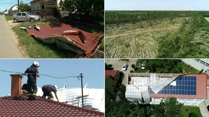 Zniszczone dachy, zalane ulice. <br />Drzewa spadały na samochody