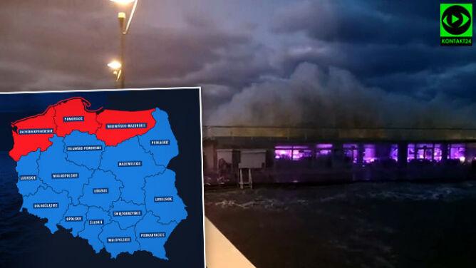 Sztorm na Bałtyku, cofka na lądzie. <br />Noc z czerwonymi alertami