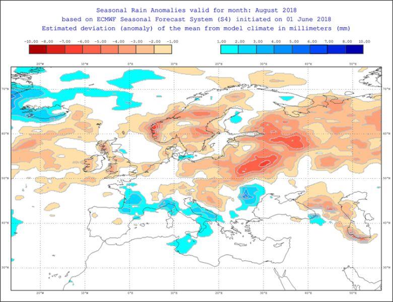 Odchylenie średniej temperatury w sierpniu od normy (ECMWF)